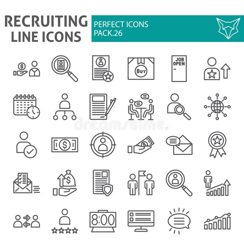 Recruiting line icon set, employment symbols collection, vector sketches, logo illustrations, job signs linear. Pictograms package isolated on white background royalty free illustration
