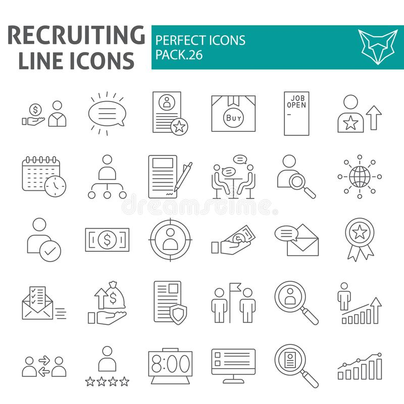 Recruiting thin line icon set, employment symbols collection, vector sketches, logo illustrations, job signs linear. Pictograms package isolated on white royalty free illustration