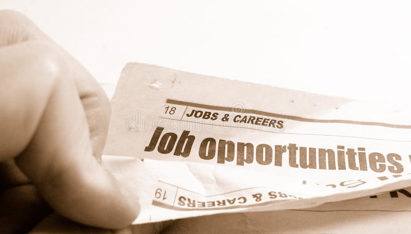 Recruitment. Job ads newspaper on white background (monochrome stock image