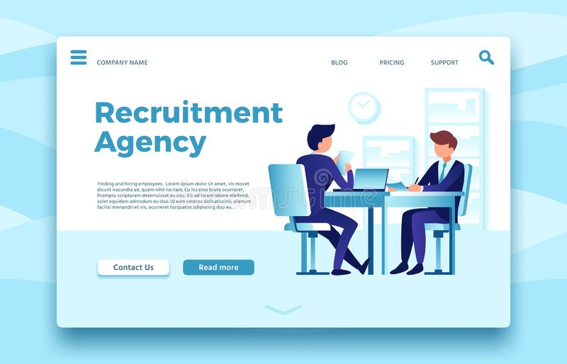 Recruitment agency. Business employment landing page, finding and hiring employees agencies online site vector template. Recruitment agency. Business employment royalty free illustration