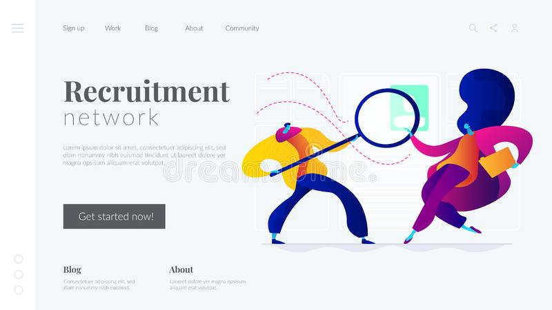 Recruitment agency landing page template. royalty free illustration