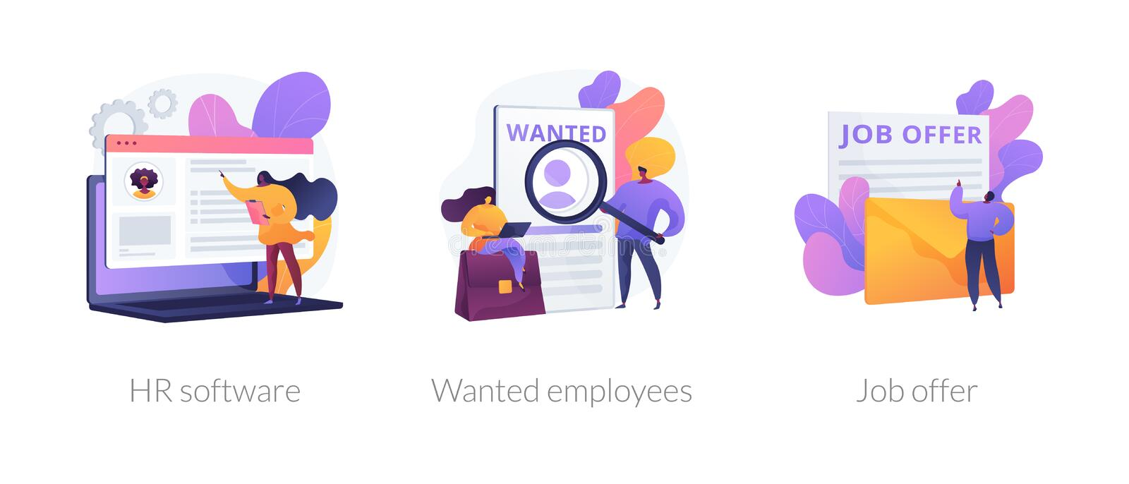 HR recruiter vector concept metaphors. Recruitment agency icons set. Human resources management, personnel hiring, employment contract. HR software, wanted stock illustration