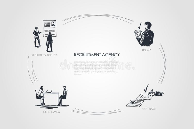 Recruitment agency - recruiting agency, job interview, resume, contract vector concept set. Hand drawn sketch  illustration vector illustration