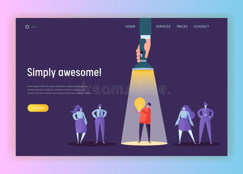 Recruitment Career Leadership Creative Idea Concept Landing Page. Flashlight Painting to Male Character Lighting. Innovation stock illustration