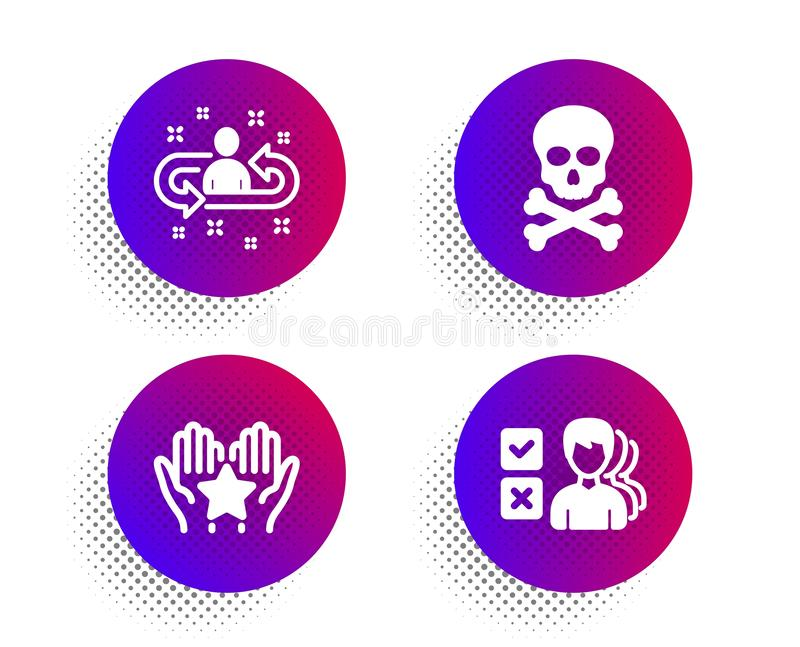 Recruitment, Chemical hazard and Ranking icons set. Opinion sign. Manager change, Toxic death, Hold star. Vector stock illustration