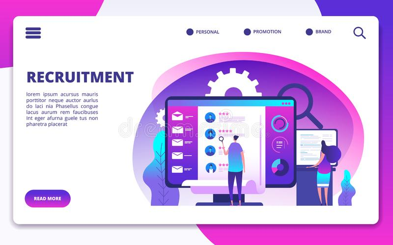 Recruitment concept. Hire workers, choice employers search team for job. Recruiter people working on hr resume. Vector stock illustration