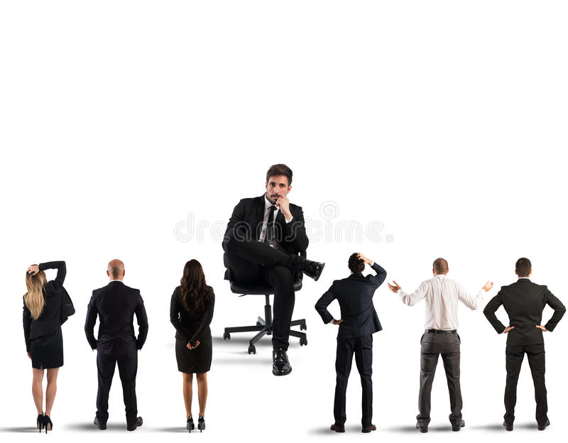 Recruitment corporate. Big businessman sits in his armchair looking small businessmen royalty free stock images