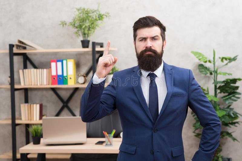Recruitment department. Job interview. Welcome team member. Recruiter professional occupation. HR manager. Man bearded. Manager recruiter in office. Recruiter royalty free stock photo