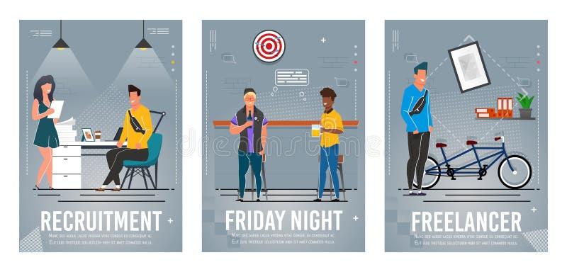 Recruitment, Friday Night, Freelancer Poster Set vector illustration