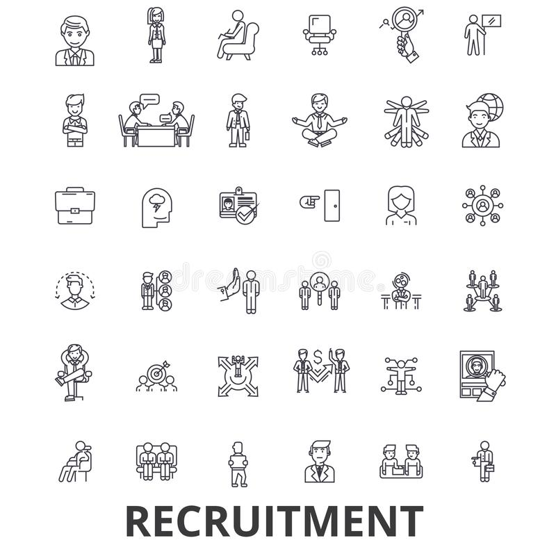 Recruitment, hiring, human resources, career, interview, employment, staffing line icons. Editable strokes. Flat design vector illustration