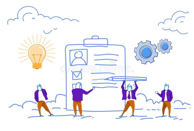 Recruitment human resource management checklist profile resume concept business people working together sketch doodle. Horizontal vector illustration vector illustration