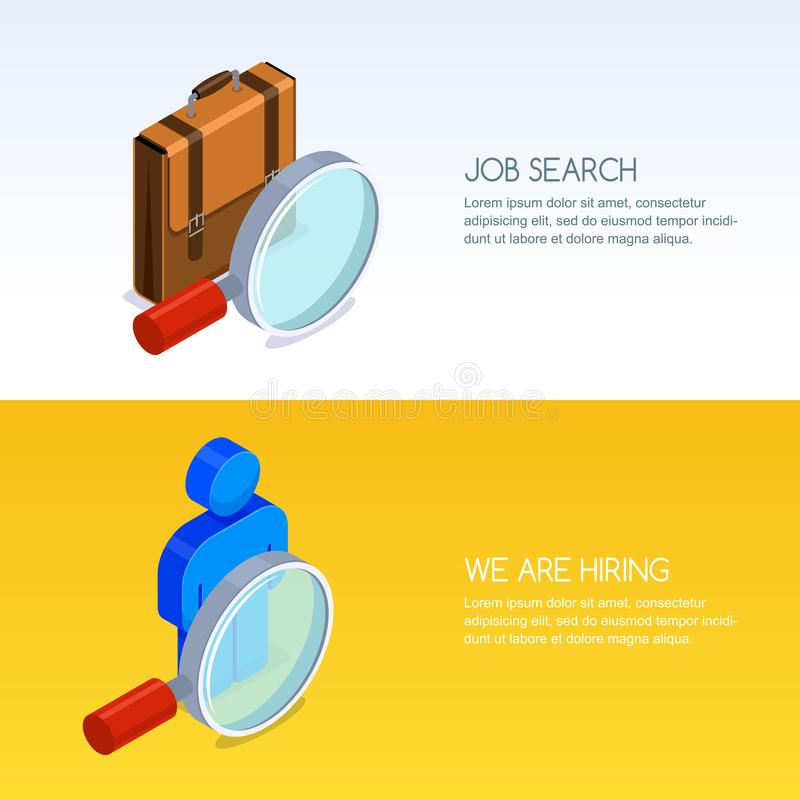 Recruitment, human resources, job seeking. Vector banner with 3d isometric illustration of magnifier, briefcase and man. stock illustration