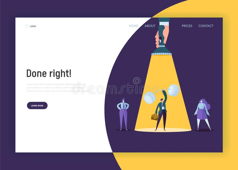Recruitment Leadership Creative Idea Concept Landing Page. Hand with Flashlight Painting to Strong Businessman Character royalty free illustration