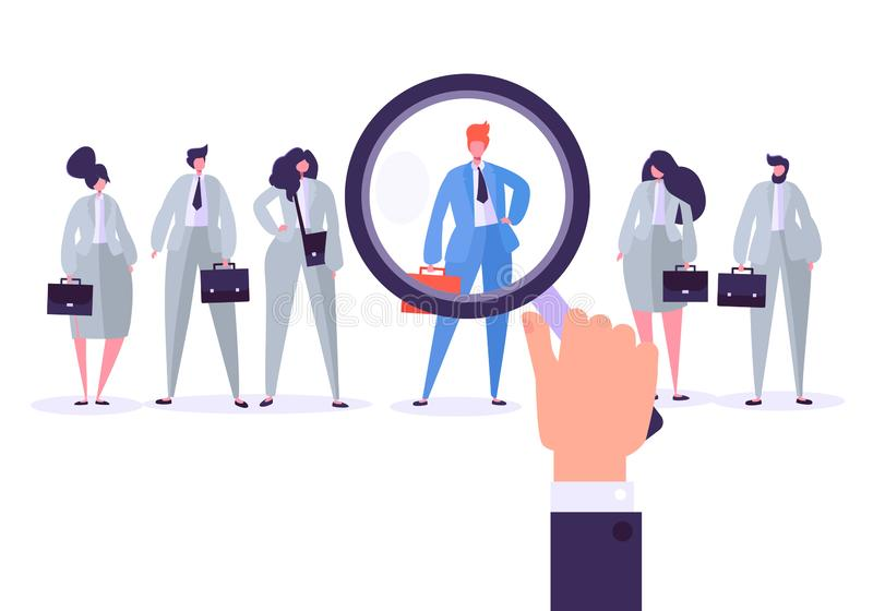 Recruitment management characters, best job candidate. Human resources searching for individuality. Hand with magnifier vector illustration
