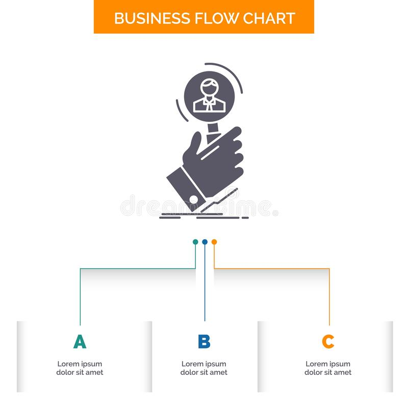 recruitment, search, find, human resource, people Business Flow Chart Design with 3 Steps. Glyph Icon For Presentation Background vector illustration