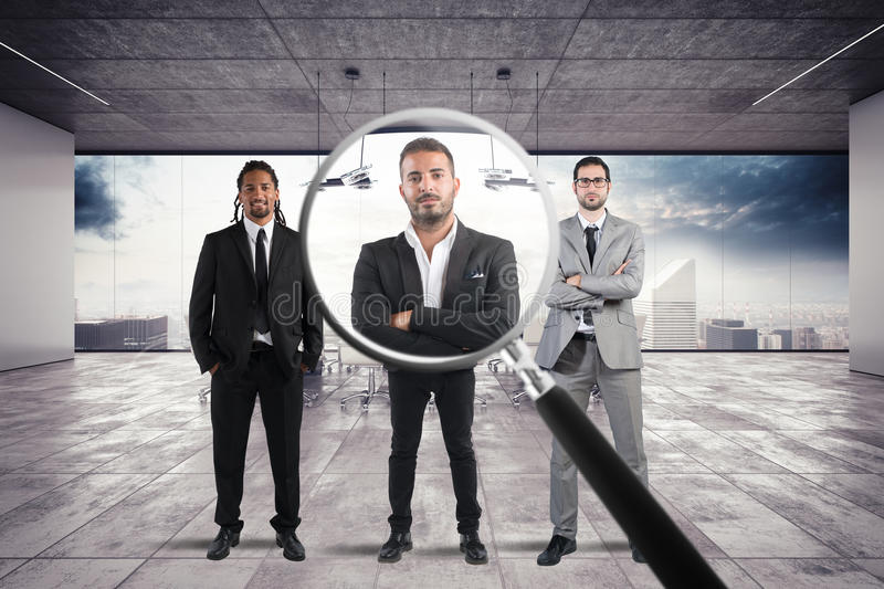 Recruitment and select candidates. Magnify lens on a only a few suitable candidates to the workplace stock images