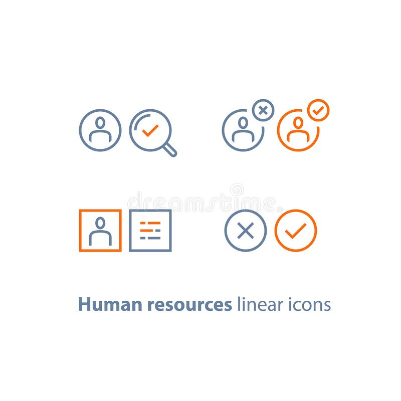 Human resources, choose candidate, recruitment service, fill vacancy, employment concept, application form review, staff search. Recruitment service, human vector illustration