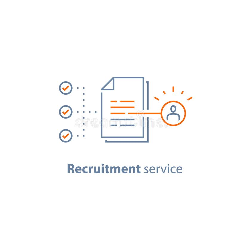 Human resources, choose candidate, recruitment service, fill vacancy, employment concept, application form review, staff search. Recruitment service, human royalty free illustration