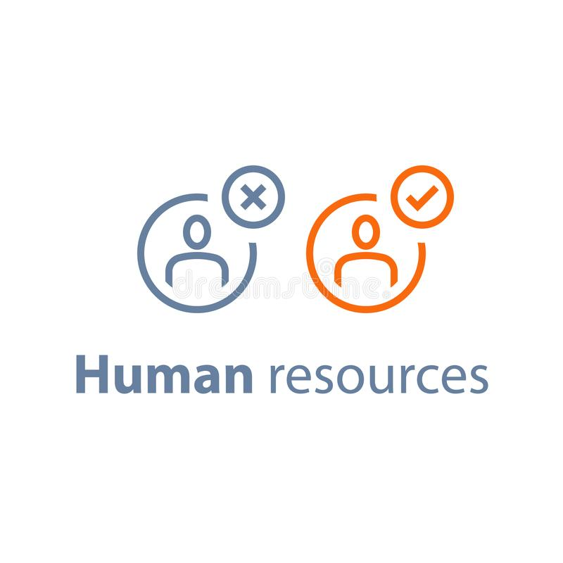 Human resources, choose candidate, recruitment service, fill vacancy, employment concept. Recruitment service, human resources, choose candidate, fill vacancy royalty free illustration