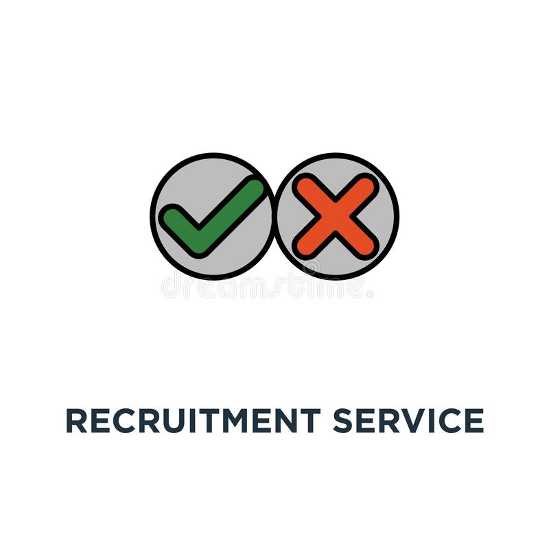 recruitment service icon. human resources, staff search, questionnaire check list, thin stroke concept symbol design, choose royalty free illustration
