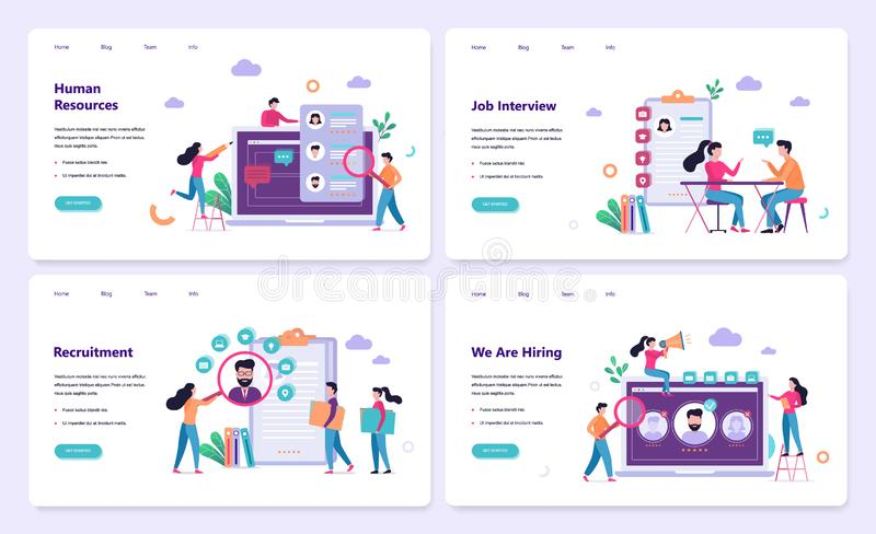 Recruitment web banner concept set. Job interview. And human resources manager. Employment and labor. Search work in internet. Isolated vector illustration in vector illustration