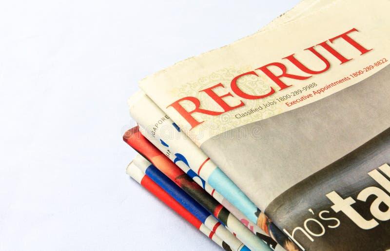 Recruta: Anúncios classific dos trabalhos imagens de stock