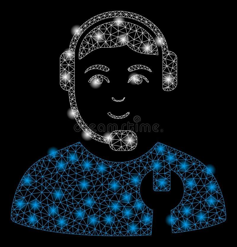 Recruta do centro de atendimento da malha brilhante 2D com pontos instantâneos ilustração do vetor