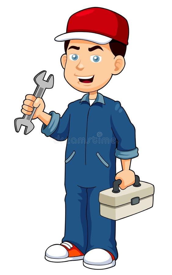 Recruta dos desenhos animados que guardara a caixa de ferramentas ilustração stock