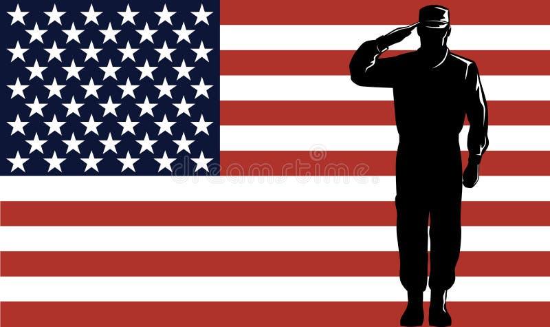 Recruta e bandeira militares ilustração stock