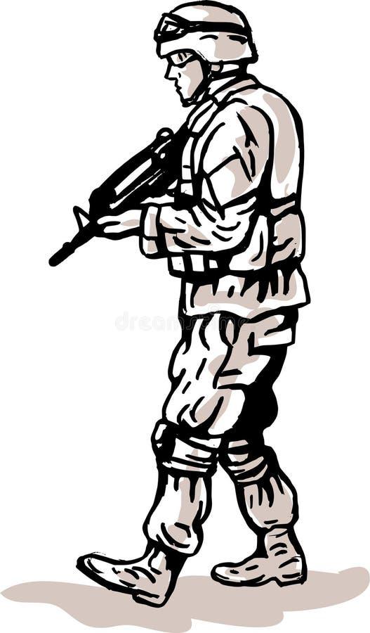 Recruta militar americano dos E.U. com rifle ilustração stock