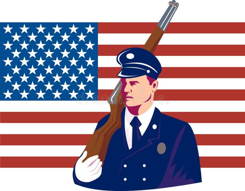 Recruta militar dos E.U. com bandeira ilustração royalty free