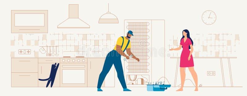 Recruta que repara o refrigerador no vetor liso da cozinha ilustração stock