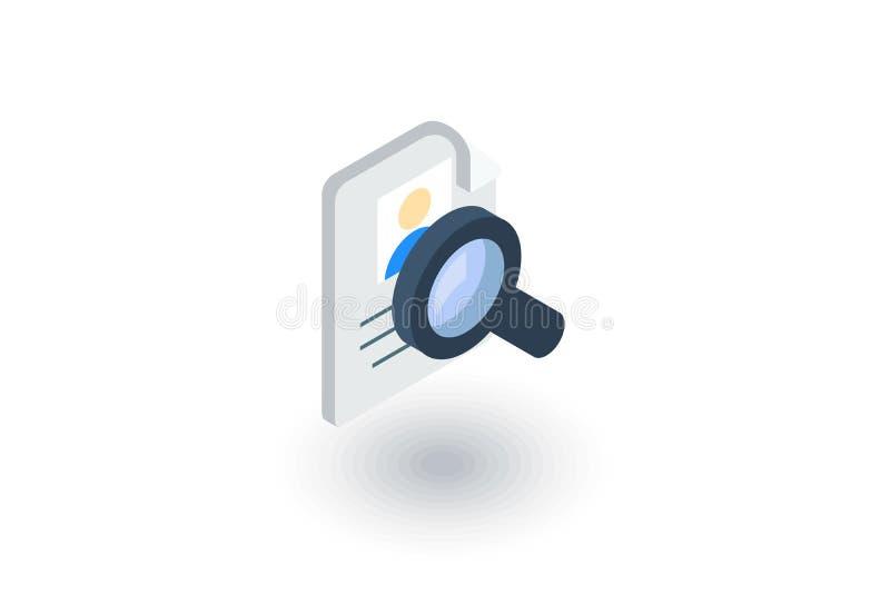 Recrutamento, busca do resumo, trabalho, selecionando o ícone liso isométrico do pessoal vetor 3d ilustração royalty free