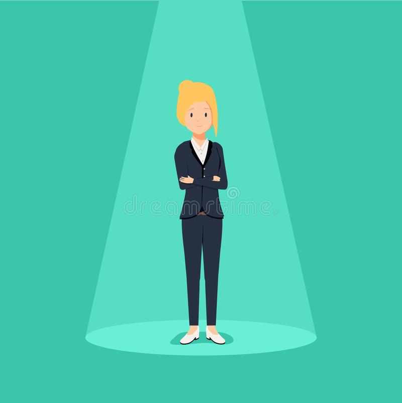 Recrutamento do negócio ou conceito de aluguer Procurando o talento Mulher de negócios que está no projetor ou no holofote ilustração stock