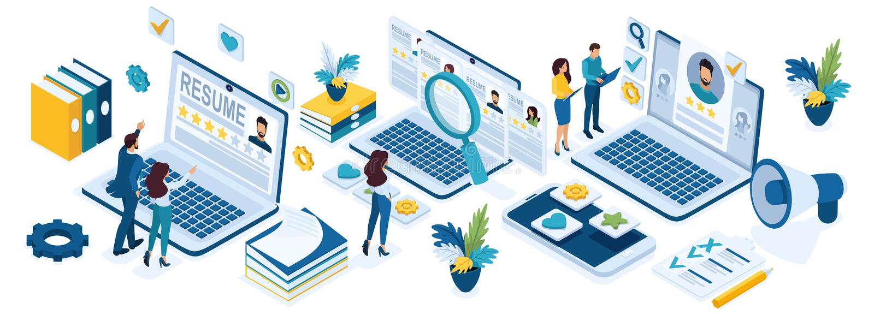 Recrutamento isométrico dos executivos, conceito do recrutamento, gerentes da hora, candidatos a emprego, resumos ilustração do vetor