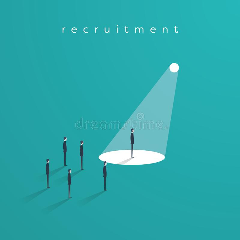 Recrutamento ou caçar cabeças o vetor do conceito do negócio com o um homem de negócios no projetor como o símbolo da busca para  ilustração do vetor