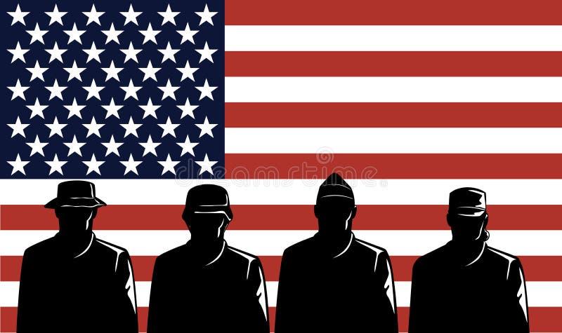 Recrutas e bandeira militares ilustração royalty free