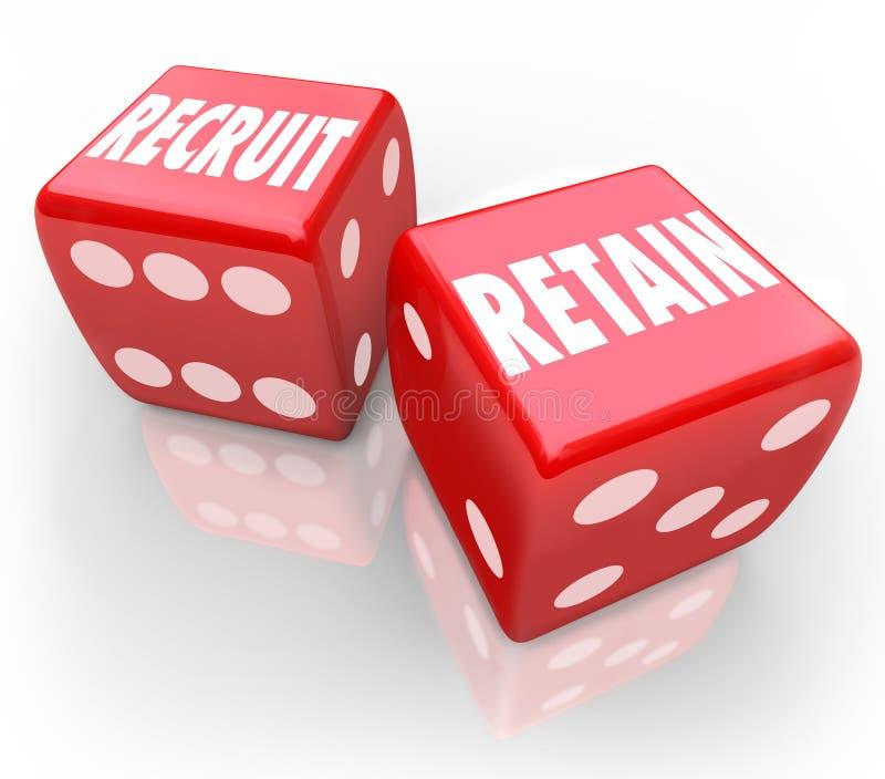 Recrute e retenha 2 dados vermelhos atraem Job Candidate Hire Reward ilustração do vetor