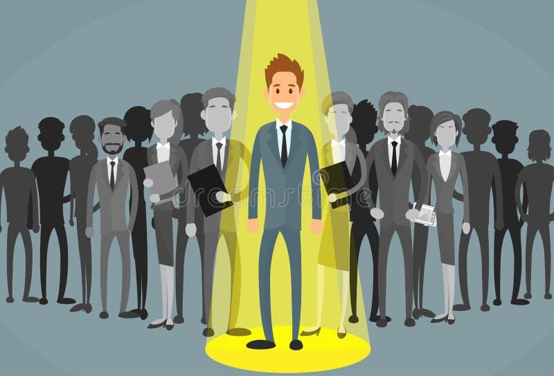 Recrutement de Spotlight Human Resource d'homme d'affaires illustration libre de droits