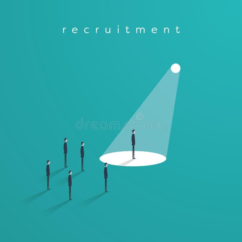 Recrutement ou recruter des cadres le vecteur de concept d'affaires avec un homme d'affaires dans le projecteur comme symbole de  illustration de vecteur