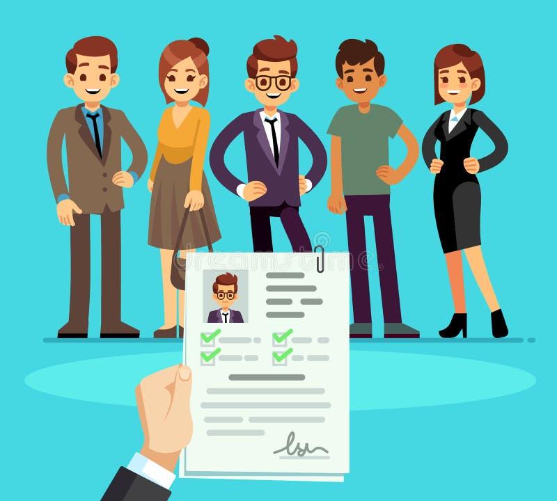 recrutement Recruteur choisissant des candidats avec le résumé de cv Concept de vecteur de ressource humaine et d'entrevue d'empl illustration stock