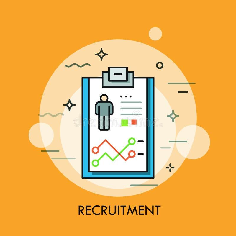 Recrutement, ressources humaines et concept de sélection du personnel, icône de curriculum vitae illustration de vecteur