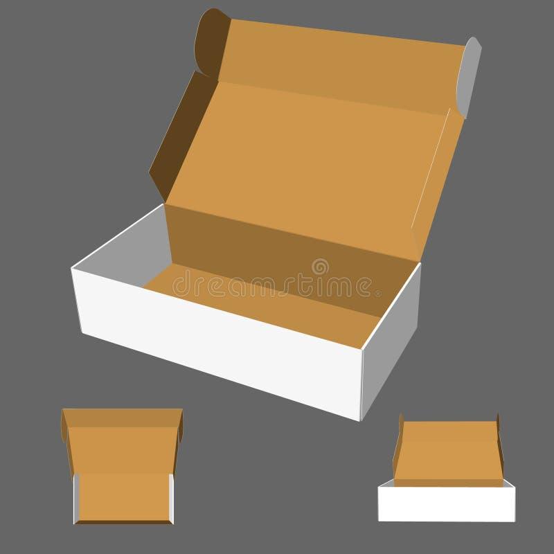 Rectángulo abierto Aislado en fondo gris ilustración del vector 3d stock de ilustración