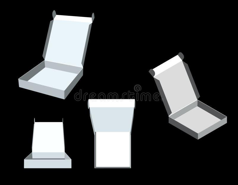 Rectángulo abierto Aislado en fondo negro ilustración del vector 3d stock de ilustración