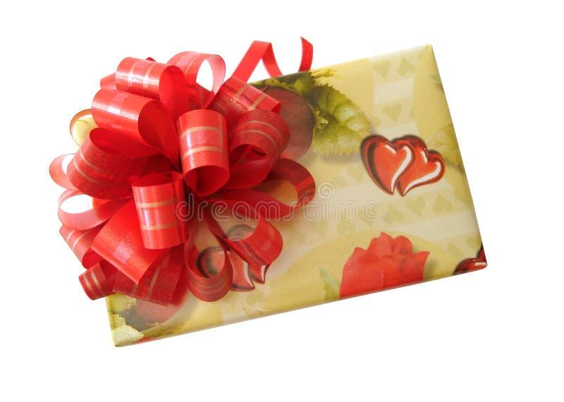 Rectángulo amarillo atado cinta roja fotos de archivo libres de regalías