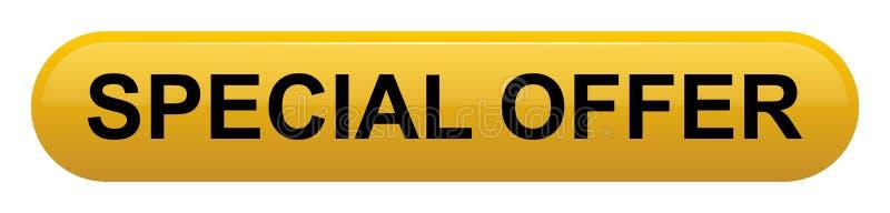 Rectángulo amarillo de oro de la oferta especial con el botón de la esquina redondeada ilustración del vector