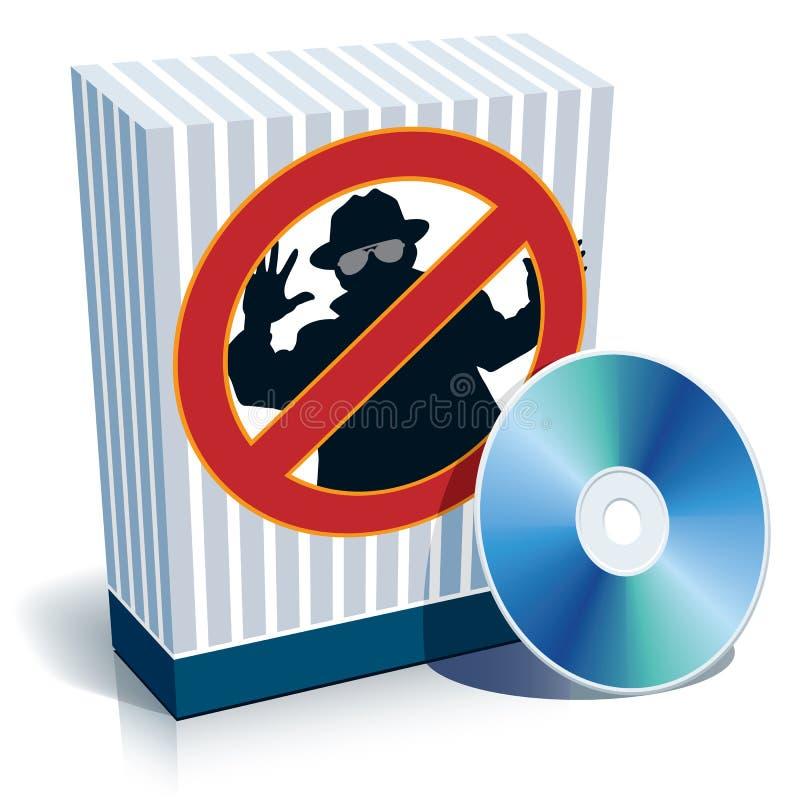Rectángulo con la muestra y el CD del anti-espía ilustración del vector