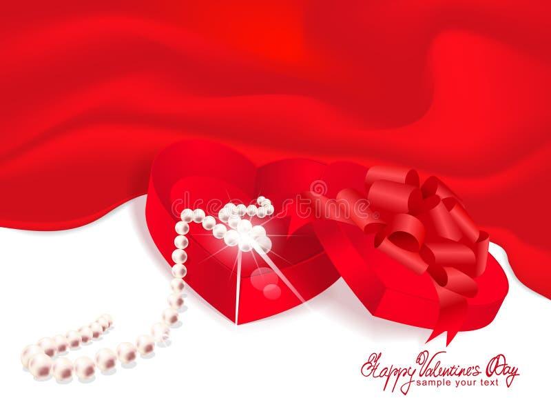 Rectángulo-corazón del regalo del vector con el fondo del rojo de la perla ilustración del vector
