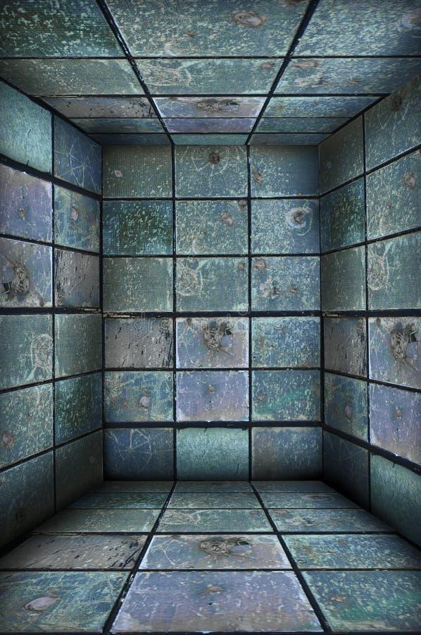 Rectángulo de acero del bloqueo de Grunge, interior imagenes de archivo