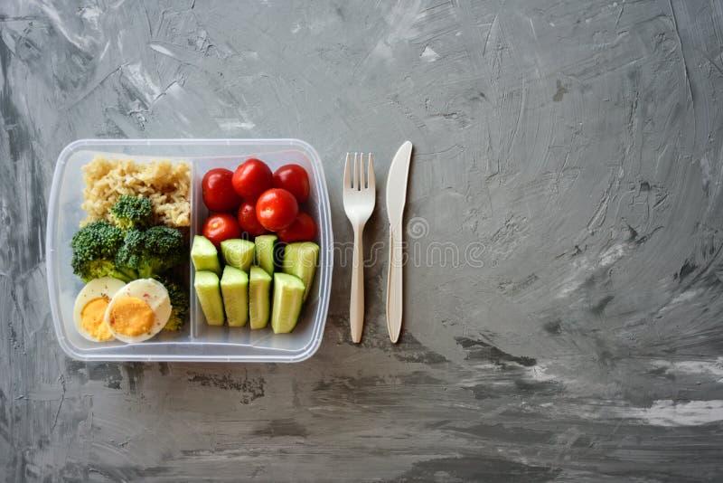Rectángulo de almuerzo vegetariano sano imagen de archivo